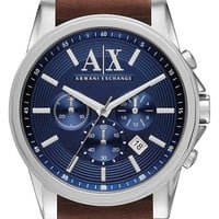 Men's AX Armani Exchange Chronograph Leather Strap Watch, 45mm - Brown / Blue