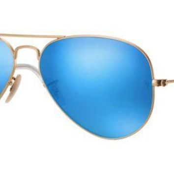 ESBON Ray Ban Aviator Sunglasses Matte Gold with Flash Mirror Lenses RB3025