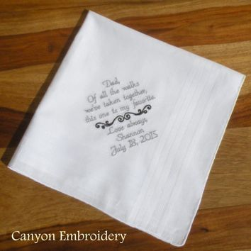 Dad Wedding Gift, Dad, Father of the Bride, Embroidered Wedding Hankerchief, Wedding Handkerchief for DAD, Gift for Dad, Canyon Embroidery