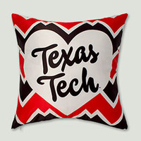 Texas Tech Heart on Zig Zag Pattern Pillow