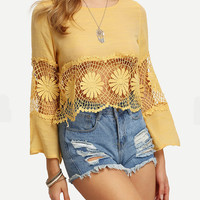Cut Out Lace Round Neck Trumpet Sleeve T-Shirt