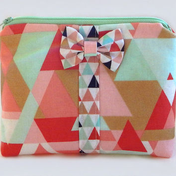 Geometric Makeup Bag / Cosmetics Pouch / Coral & Teal / Makeup Clutch / Zipper Make Up Bag / Gold / Triangles / Bow Clutch / Makeup Case