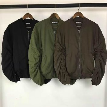 Relaxed Fit Thick Bomber Jacket Hiphop Streetwear Two-way Zipper Kanye West Ruched Sleeve Aviator Jackets