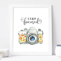 Retro Camera Print 8x10 Snap Download Stay Focused Camera Quote Art Print Antique Camera Art Print Watercolor Floral Camera Printable Art