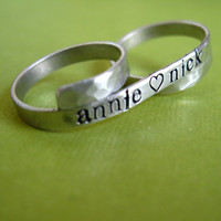 Two finger ring custom stamped aluminum banner by SpiffingJewelry