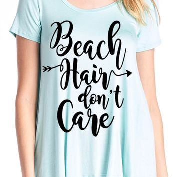 Beach Hair Don't Care graphic T - Mint