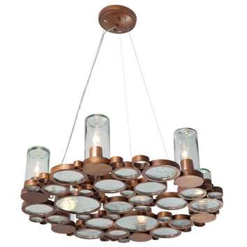 Varaluz 165C06HO Fascination Six-Light Chandelier in Hammered Ore with Recycled Glass