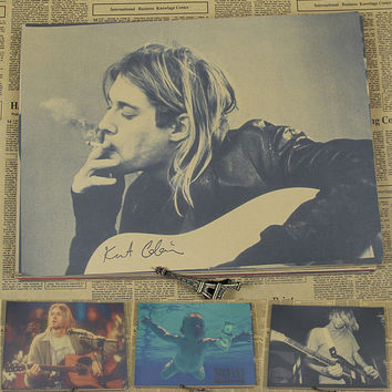 Vintage Paper Retro anime poster - nirvana kurt cobain -Posters kid cudi poster Vintage Home Wall sticker Decor 30*21CM