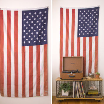 vintage american flag wall hanging / large wall decor / textile fabric old flag wall art