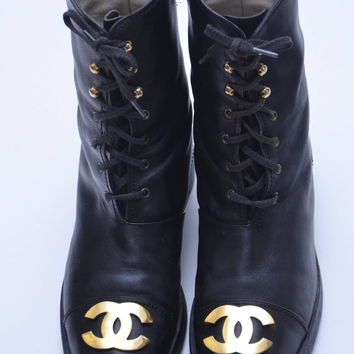 Rare CHANEL Vintage Combat Boots With Gold-plated Plaque 1990's