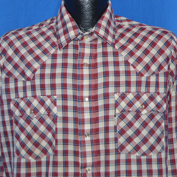 80s Levi's Plaid Western Pearl Snap Cowboy Shirt Large