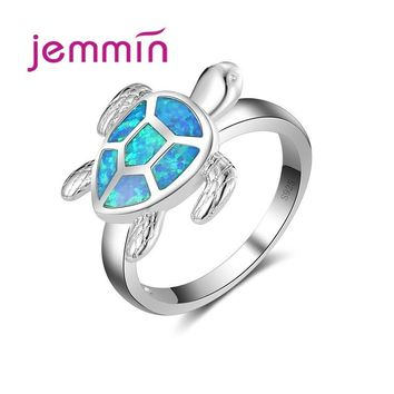 Jemmin Cute Sea Turtle Shaped Ocean Blue Opal Ring For Women & Girl 925 Sterling Silver Jewelry Rings Fine Jewelry.