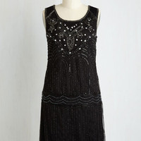 Vintage Inspired Mid-length Sleeveless Shift Philharmonic of Time Dress in Black