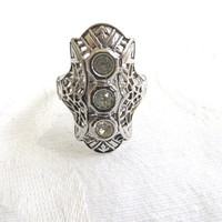 Art Deco Sterling Ring Faux Diamond Stones