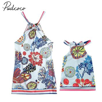 2018 Brand New Family Clothes Mom Daughter Baby Beach Tutu Dress Party Sleeveless Dress Boho Floral Matching Straped Sundress