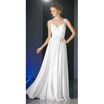 Beaded Cap Sleeves Sweetheart Bridesmaid Dress Off White Chiffon