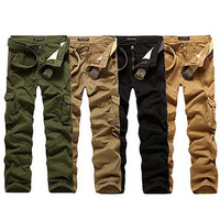 Fashion Military Pants With Canvas Belt