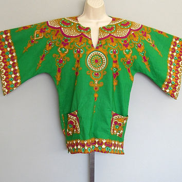 Vintage 70s Ethnic India DASHIKI Tribal Angel Bell Sleeve Hippie Boho Tunic Top
