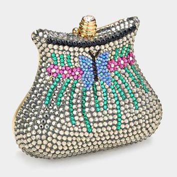 Crystal Butterfly Evening Clutch Bag With Strap