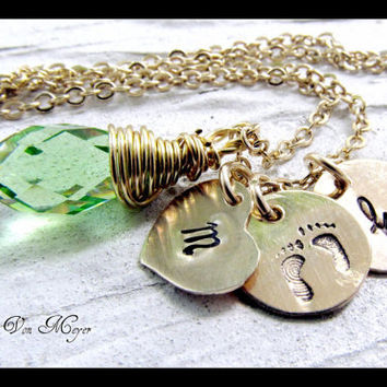 14kt Gold Filled Hand Stamped Necklace - My Sweet Baby - Peridot Birthstone - Family Keepsake Jewelry - Monogram Gold