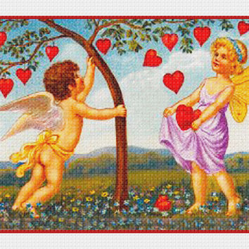 Victorian Cupid Shaking Hearts from a Tree Valentine from Antique Card Counted Cross Stitch or Counted Needlepoint Pattern