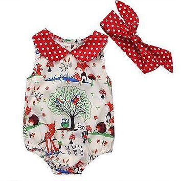 Summer Newborn Infant Baby Girl Cotton Peter Pan Collar Romper animal Jumpsuit Headband Clothes Outfit