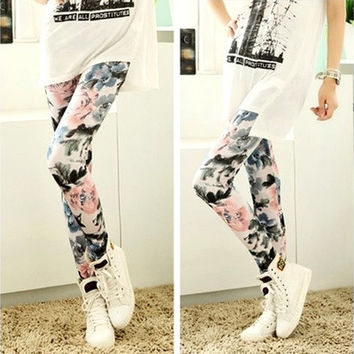 Womens Retro Flowers Floral Print Ink Painting Stretch Tights Leggings Pants [8805114951]