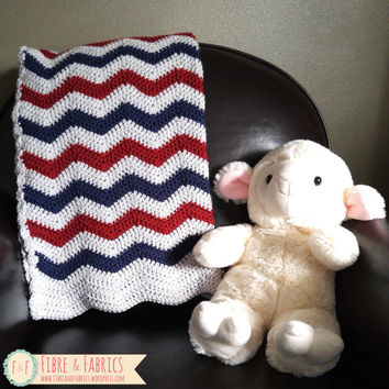 Handmade Crochet Tri-Color Chevron Baby Blanket, Stroller Afghan, Toddler Cozy, Crib Blanket  / Made to Order
