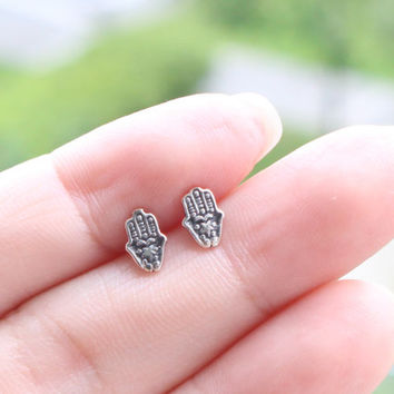 Tiny Hamsa Hand Earrings - Sterling Silver Hamsa Stud Earrings, Hamsa Hand Post Earrings, Hamsa jewelry, Hand of fatima