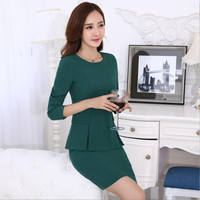New Office Women's Skirt Suits Spring 2017 Autumn Fashion Solid Color Formal Career OL Work Skirt Set Female S-4XL Free shipping