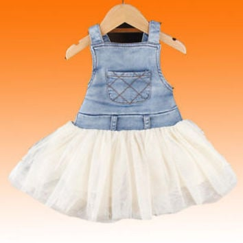Details about 2016 Retro Kids Baby Girls Clothes Summers Denim Tulle Dress Age 6M-4Y Outfits R