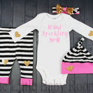 Brand Sparkling New,Baby Girl Coming Home Set,Personalized Onesuit,Baby Leggings and Headband,Girls Hospital Set,Pink,Gold,Black Stripe,Hat,