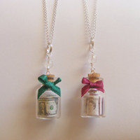 Money Bottle Miniature Food Necklace Pendant  by NeatEats on Etsy