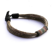 Multicolor sporty mens bracelet - linen bracelet for men - men's jewelry natural materials - organic jewelry - 2014 trends