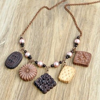 Mini food necklace Kawaii food necklace Cookies necklace Miniature food charms Jewelry Girlfriend gift Mini food jewelry Pastries necklace