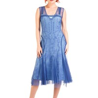 Nataya AL-281 Jackie 1920s Flapper Style Party Dress in Periwinkle