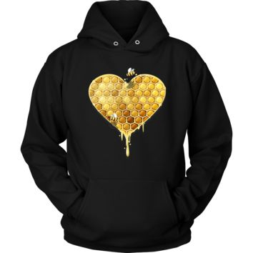 Cute Honeycomb Heart Bee Loved Hoodie