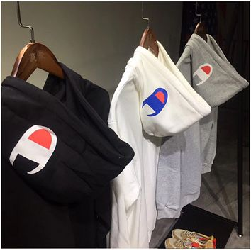 Champion Even the hoodie and hoodie street fashion movement retro style prints 100 men and women jackets Gray