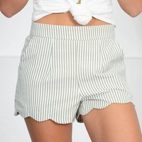 Sage Striped Scalloped Short