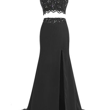 Ubridal Women's Two Pieces Beads Prom Dress