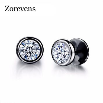 ZORCVENS New Arrival Fashion Jewelry Delicate Stainless Steel Inlaid CZ Accessories Silver Black Man Woman Stud Earrings