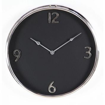Stylish Black And Silver Stainless Steel Wall Clock