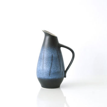 WEST GERMAN POTTERY Vase, Small Jug, Dümler & Breiden, Black and Blue, Made in Germany, Midcentury Modern Decor