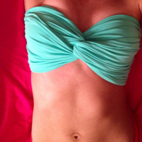 Spandeau Tiffany blue spandex bandeau swim suit bikini by Opus19