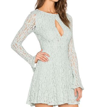 Keyhole Cut-Out Lace Dress