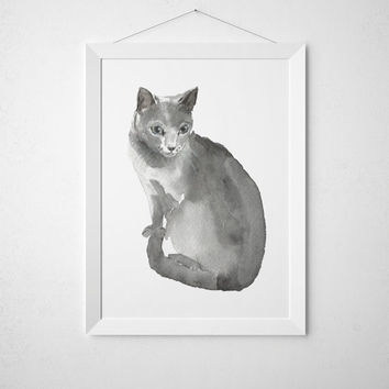 Cat watercolor print Russian blue poster Cute nursery art ACW91