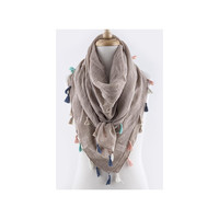 Light Brown Multi Colored Tassel Scarf