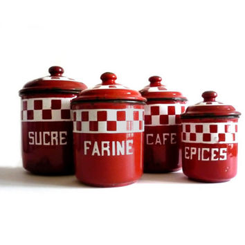 LUSTUCRU - Set of 4 Antique Red and White Checkered Enamelware French Canisters