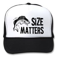 Size Matters! Funny Fishing Design Mesh Hats from Zazzle.com