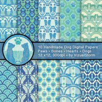 Dog Scrapbooking Digital Paper, Green Blue Dog Backgrounds, Paw Prints, Hearts, Dog Bones, Dog Memorial Digital Paper Printable Pet Patterns